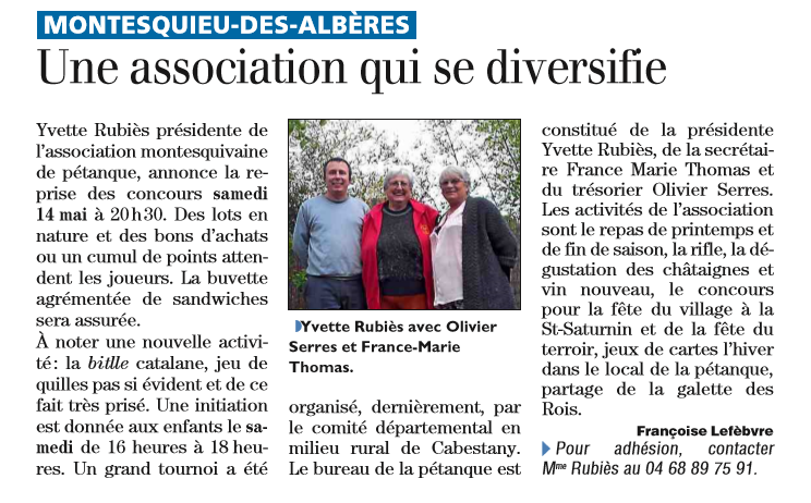 Une association qui se diversifie