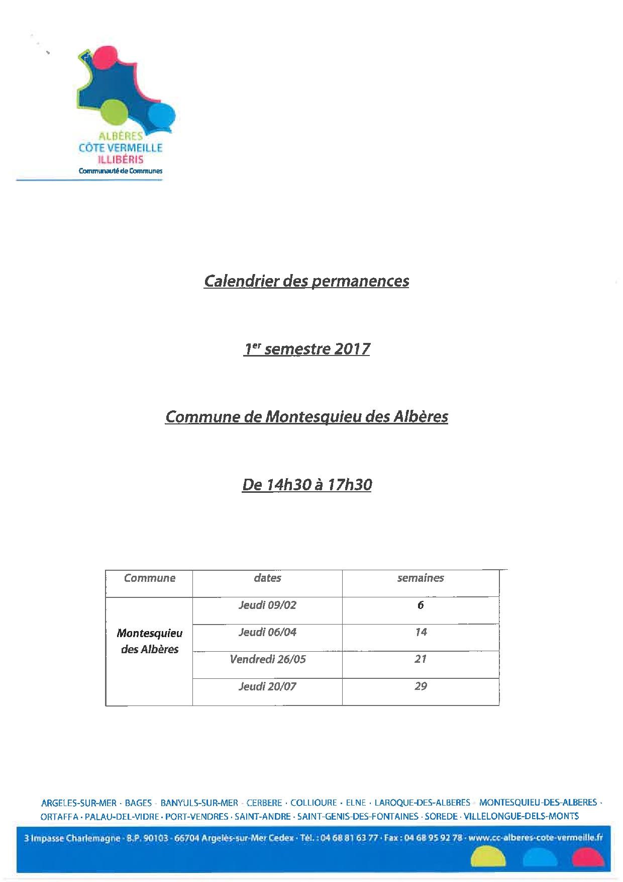 permanences urbanisme 1er semestre 2017